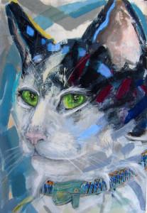 Cat with Charm-Collar, 100 x 70 cm, acryl/paper