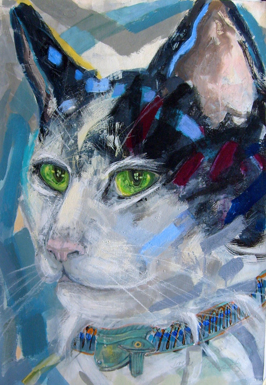 Cat with Charm-Collar, 100 x 70 cm, acryl/paper