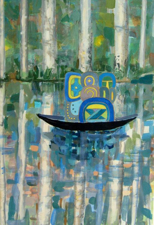 Naranjo on a Boat, 100 x 70 cm, acryl/paper