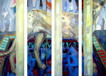 Cheetah behind Columns, 175 x 200 cm, screen, four parts, acryl/canvas