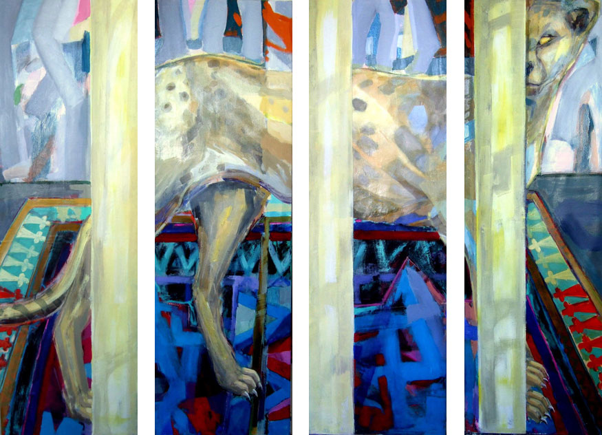 Cheetah behind Columns, 175 x 200 cm, screen, four parts, acryl/canvas