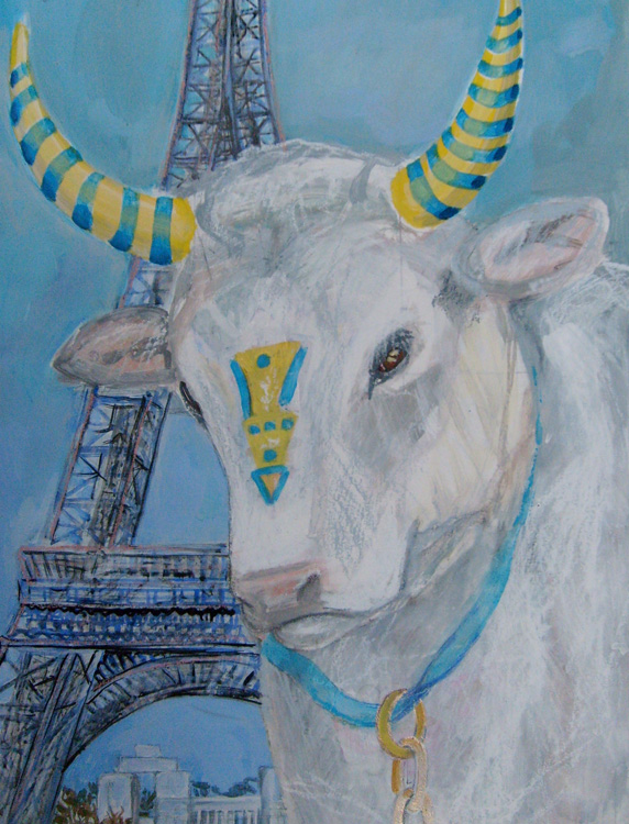 White Cow in Paris, 38 x 28 cm, acryl/paper