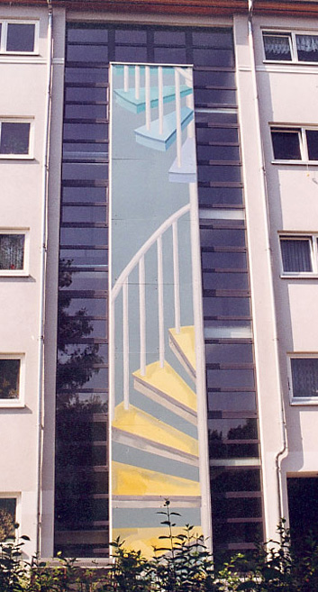 Vier Fassadenbilder vor je einer Glasfront - An der Wuhlheide 88-94, Berlin-Köpenick, 1997/98 Four facade pictures, each before a glass front