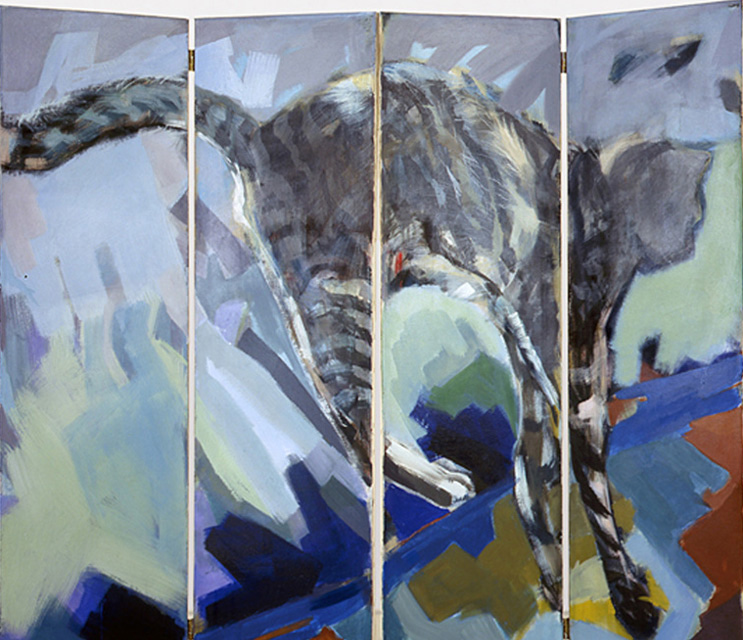 Jumping Cat, 160 x 180 cm, screen, four parts, acryl/canvas