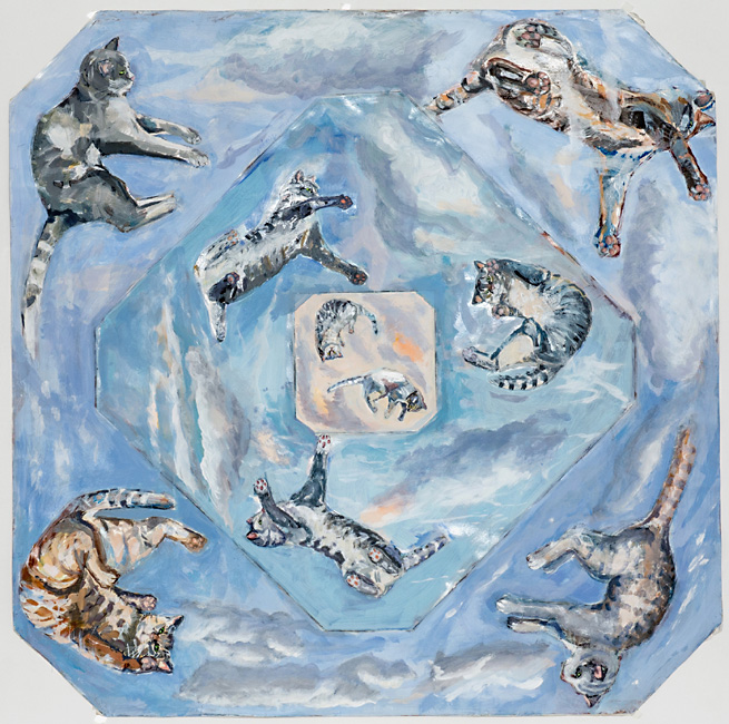 Cat's Heaven, 105 x 105 cm, acryl/paper, ceiling painting